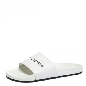 Balenciaga White Leather Logo Slide Sandals Size 41