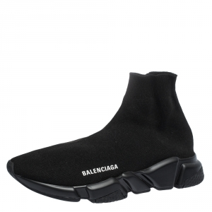 Balenciaga Black Knit Fabric Speed Trainer Sneakers Size 41