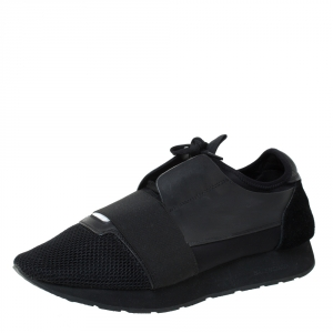Balenciaga Black Leather, Suede And Mesh  Race Runner Sneakers Size 42