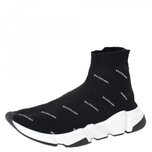 Balenciaga Black Knit Fabric Speed Logo Sneakers Size 40