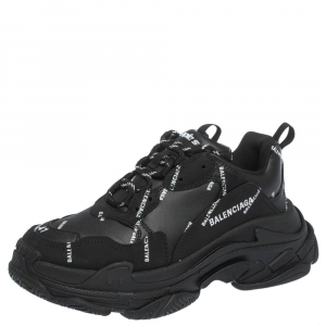 Balenciaga Black Leather And Nubuck Allover Logo Triple S Platform Sneakers Size 41