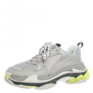 Balenciaga Grey/Neon Mesh, Nubuck And Leather Triple S Platform Sneakers Size 44