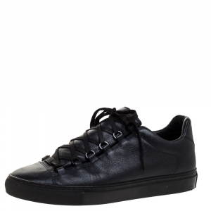 Balenciaga Navy Blue Leather Arena Low Top Sneakers Size 42