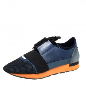 Balenciaga Blue/Black Leather And Mesh Race Runners Sneakers Size 42