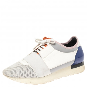 Balenciaga Multicolor Mesh, Leather And Suede Race Runners Sneakers Size 40