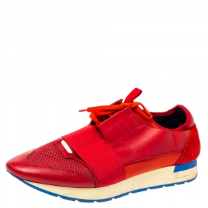 Balenciaga Red Mesh, Leather And Suede Race Runners Low Top Sneakers Size 45