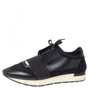 Balenciaga Black Mesh And Leather Race Runner Low-Top Sneakers Size 43