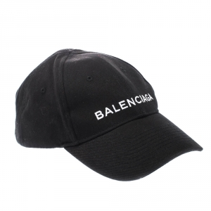 Balenciaga Black Cotton Twill Classic Baseball Cap