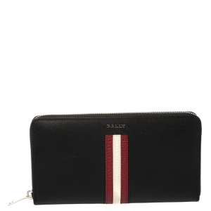 Bally Black Leather Salen Zip Around Wallet