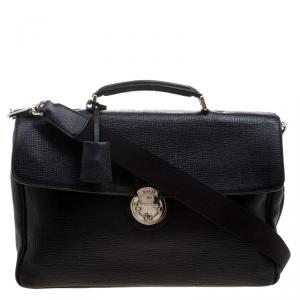 Bally Black Textured Leather Briefcase Laptop Bag
