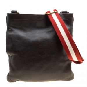 Bally Brown Leather Messenger Bag
