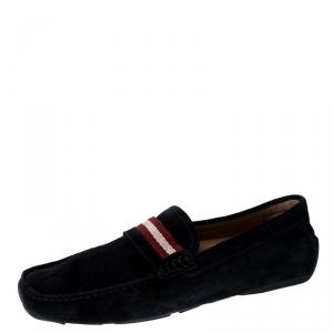 Bally Black Suede Wabler Slip On Loafers Size 41.5