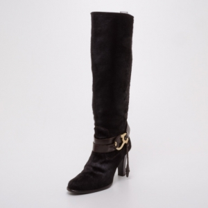 Bally Brown Pony Hair Boots Size 36.5