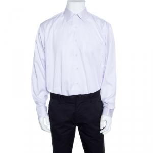 Balmain Purple Striped Cotton Long Sleeve Compact Spun Yarn Two Ply Shirt L