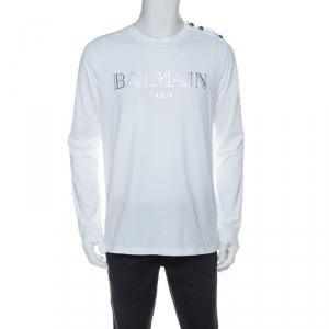 Balmain White Cotton Logo Print Shoulder Button Detail Full Sleeve T-Shirt L