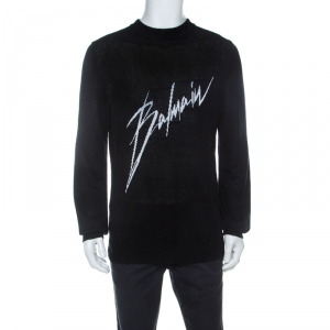 Balmain Black Linen Knit Logo Signature Printed Sweater L