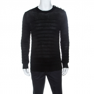 Balmain Black Linen Knit Shoulder Button Detail Sweater L