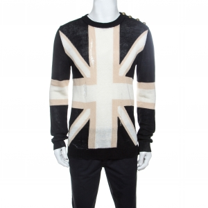 Balmain Tricolor Linen Blend Rip Detail Union Jack  Sweater L