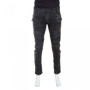 Balmain Grey Cotton Denim Biker Jeans L