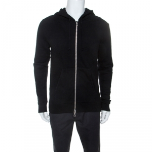 Balmain Black Cotton Embroidered Patch Detail Hooded Jacket M