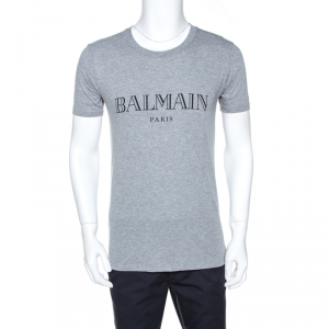 Balmain Grey Logo Print Cotton Crew Neck T-Shirt S
