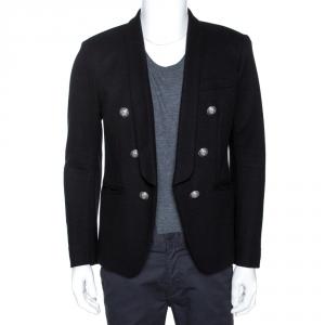 Balmain Black Cashmere Shawl Lapel Open Front Blazer L