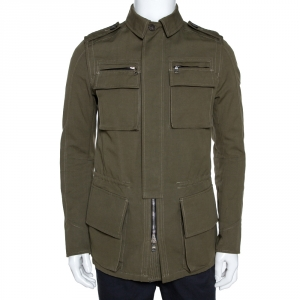 Balmain Olive Green Cotton Linen Zip Front Jacket M