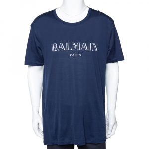 Balmain Midnight Blue Logo Print Cotton Short Sleeve T-Shirt XL