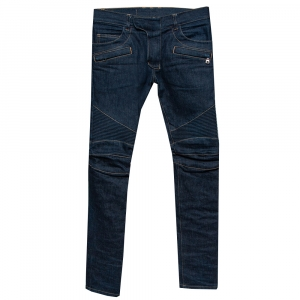 Balmain Navy Blue Denim Biker Jeans S