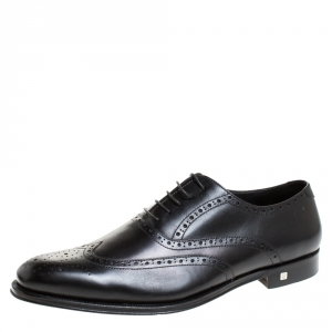 Balmain Black Leather Brogue Detail Lace Up Oxfords Size 45