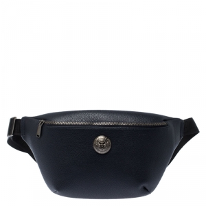 Balmain Navy Blue Leather Belt Bag
