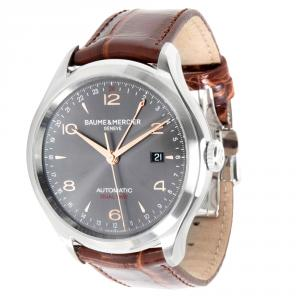 Baume & Mercier Grey Stainless Steel and Leather Clifton GMT MOA10111 Men's Wristwatch 43MM