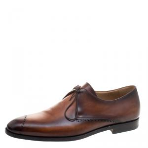Berluti Brown Ombrè Brogue Leather Lace Up Derby Size 43.5