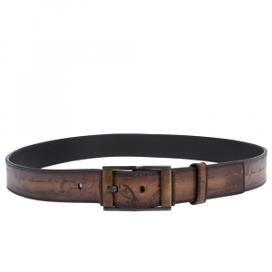 Berluti Brown Scritto Leather Classic Buckle Belt 100CM