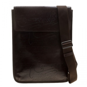 Berluti Brown Engraved Leather Messenger Bag