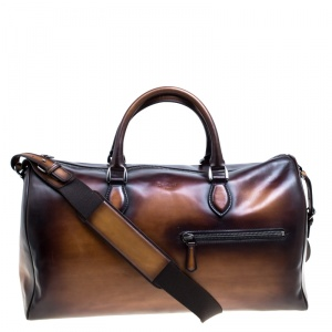 Berluti Two Tone Brown Leather Jour Off Travel Bag