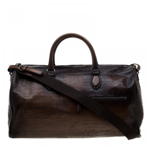 Berluti Two Tone Brown Scritto Leather Medium Jour Off Travel Bag