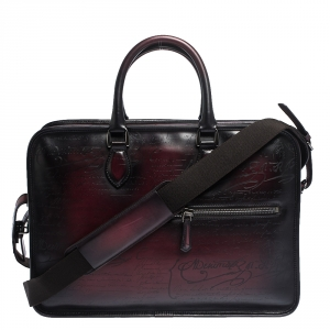 Berluti Burgundy Ombre Leather Un Jour Venezia Briefcase