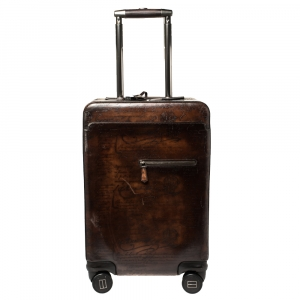 Berluti Caffe Brown Scritto Leather Formula 1004 Rolling Suitcase