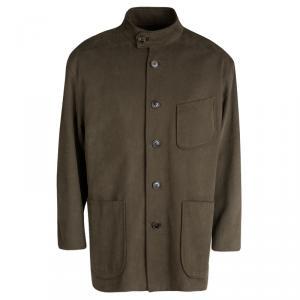 Berluti Brown Cotton Textured Mandarin Collar Jacket XXXL
