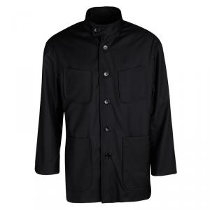 Berluti Black Mandarin Collar Button Front Regular Fit Jacket L
