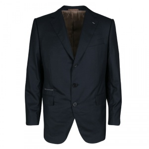 Berluti Navy Blue Striped Wool Drop 8 Fit Constructed Shoulder Detail Brera Suit L