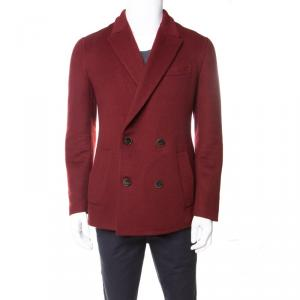 Berluti Burgundy Felted Cashmere Double Breasted Blazer L