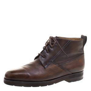 Berluti Brown Leather High Top Boots Size 41.5