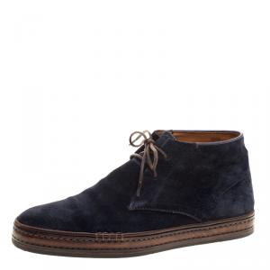 Berluti Blue Suede Lace Up Desert Boots Size 42