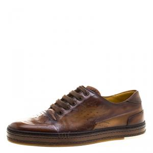 Berluti Tobacco Brown Leather Scritto Lace Up Derby Size 42