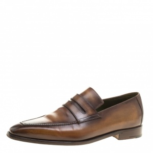 Berluti Brown Leather Andy Penny Loafers Size 42.5