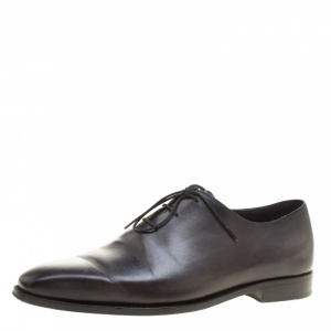 Berluti Shadow Grey Leather Alessandro Oxfords Size 42.5
