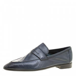 Berluti Oxford Blue Leather Lorenzo Loafers Size 42.5