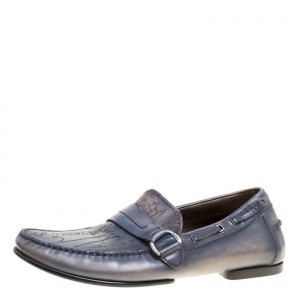 Berluti Grey Shaded Engraved Leather Loafers Size 43